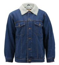 Men's Classic Button Up Sherpa Fleece Lined Cotton Denim Trucker Jean Jacket image 8