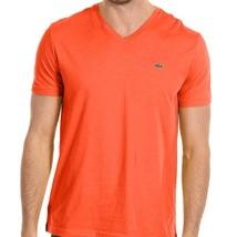 Lacoste Men's Athletic Cotton V-Neck Shirt T-Shirt Citrouille Size XL