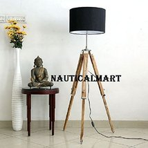 Chrome Finish Natural Wooden Tripod Floor Lamp With Black Shade By Nauticalmart - $189.00