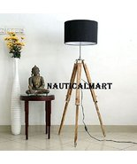 Chrome Finish Natural Wooden Tripod Floor Lamp With Black Shade By Nauti... - $189.00