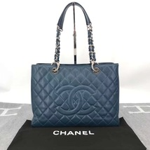 RARE AUTH CHANEL BLUE QUILTED CAVIAR GST GRAND SHOPPING TOTE BAG