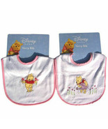 2 TWO Embroidered Terry Bibs Winnie the Pooh & Flowers Baby Infant Girl ... - $12.51