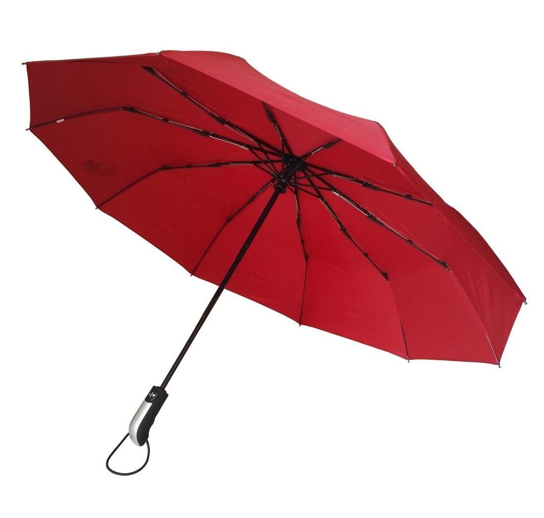 umenice Automatic 9-Rib Travel Umbrella Windproof with 210T Fabric Red