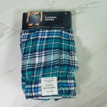 Men's Medium American Eagle Blue Plaid Flannel Boxer Shorts - $24.75