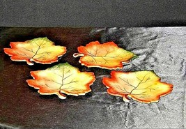 Hand Painted Leaf Shaped Serving / Candy Dish with Handle AA19-1383 Vintage image 2