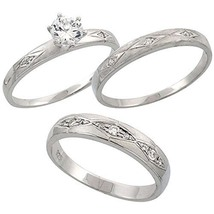 His & Hers 1/10 Ct Diamond 925 Sterling 3 Piece Trio Engagement Wedding Ring Set - $154.17
