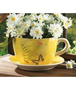 Large Yellow Butterfly Theme Teacup & Saucer Planter Drain Hole Bottom o... - $28.66