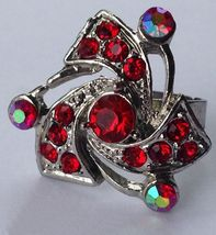 Vintage Silver Tone Red & AB Rhinestone Cluster Fashion Bling Ring~6~Adj... - $5.99