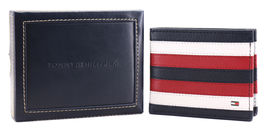 Tommy Hilfiger Men's Leather Wallet Passcase Billfold RFID Navy Red 31TL220104 image 3