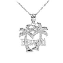 """Sterling Silver """"Hawaii"""" Palm Trees Pendant Necklace - €18,02 EUR+"""