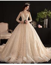 Luxury Shiny Wedding Dresses Long Sleeves Gown - $420.00+