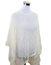 Ivory Nubby Open Weave Sequin Slipover Poncho Top - Also in Teal, Beige ... - $22.90