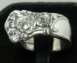 Ballad 1953 Oneida Community Roses Heavy Silverplate Sz 6.75 Spoon Ring ... - $29.99
