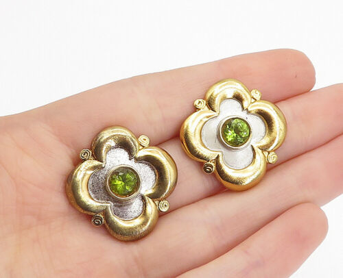Primary image for 925 Sterling Silver - Vintage Peridot Two Tone Floral Drop Earrings - E9614
