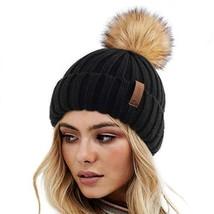 Womens Knitted Winter Pom Beanie Hat Faux Fur Pom Pom bobble Hat beanie for girl