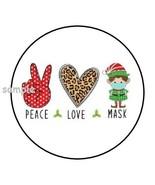 "30 PEACE LOVE MASK ENVELOPE SEALS LABELS STICKERS 1.5"" CHRISTMAS QUARANT... - $4.99"