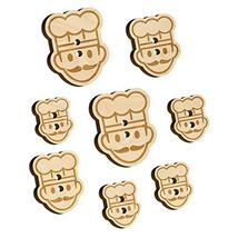 Occupation Chef Cook Man Icon Wood Buttons for Sewing Knitting Crochet DIY Craft - $9.99