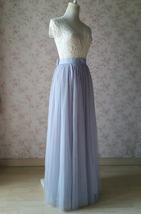 SILVER GRAY Wedding Bridesmaid Tulle Skirt High Waist Gray Maxi Full Tulle Skirt image 3