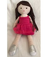 "Amy Coe girl Plush doll 15"" Rag Doll Brunette 2016 Cloth Hair Strips Stu... - $10.88"