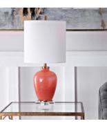Orange Coral Pink Coastal Transitional  Talble Lamp Coastal White Brass ... - $187.98