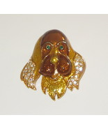 Irish Setter Pin Gold Tone New Crystal Accents Eyes Ears Dogs Jewlery  - $12.86