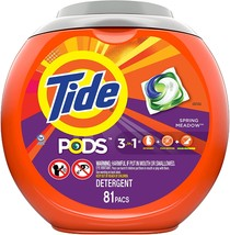 Tide PODS Laundry Detergent Spring Meadow 3 in 1, 81 Count  - $24.70