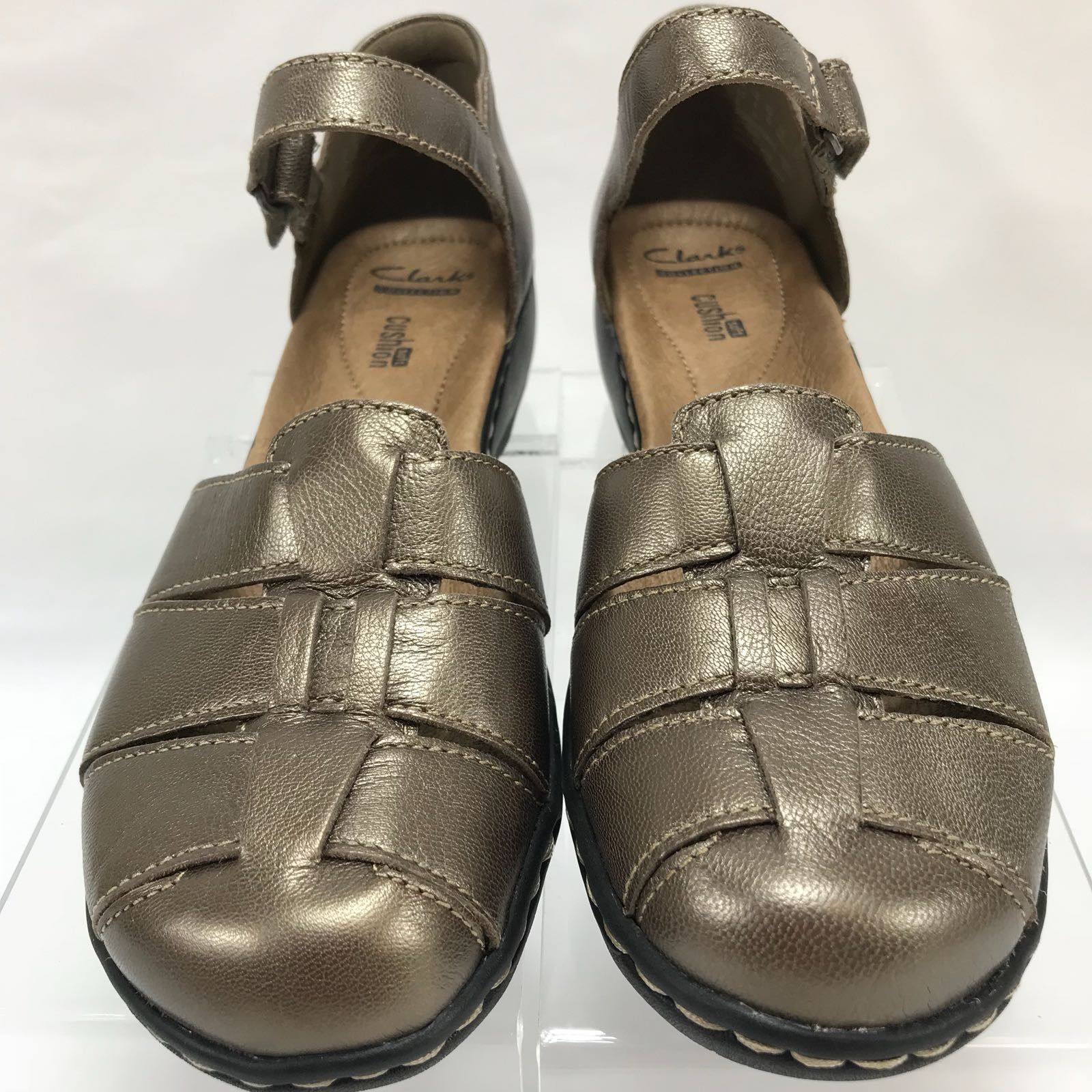 Clarks Bendables Womens 8W Bronze Leather Cutouts Comfort Loafers Flats Shoes S2