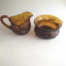 Depression Art Glass Creamer and Open Sugar Bowl Brown Glass - $24.70