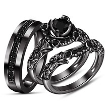 Trio Wedding Ring Set Diamond Bridal Engagement Band Black Gold FN His a... - $139.31
