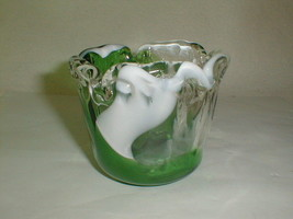 Planter bowl art glass vintage green white colors vintage - $30.00