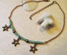 Boho Copper Stars & Turquoise Beaded Beach Choker Necklace, Celestial Ch... - $7.99