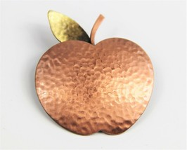 ESTATE VINTAGE Jewelry HAMMERED COPPER APPLE BROOCH - $10.00