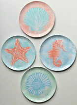 "Starfish Seahorse Shell Set of 4 Melamine Plates 11"" Dinner Plates Beach... - $36.61"