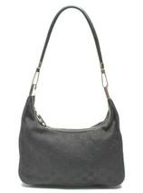 Auth Gucci GG Supreme Shoulder Bag Black Canvas Leather Zipper Logo G417 - $198.99