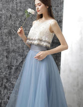 Dusty Blue Floor Length Tulle Skirt High Waisted Dusty Blue Bridesmaid Outfit image 9