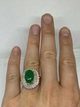 Vintage Green Jade Ring gold Finish White Sapphire Size 6 - $118.80