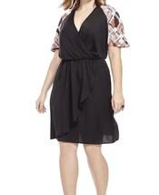 NWOT Corey faux wrap black floral sleeves dress women's plus size 1X - $25.64