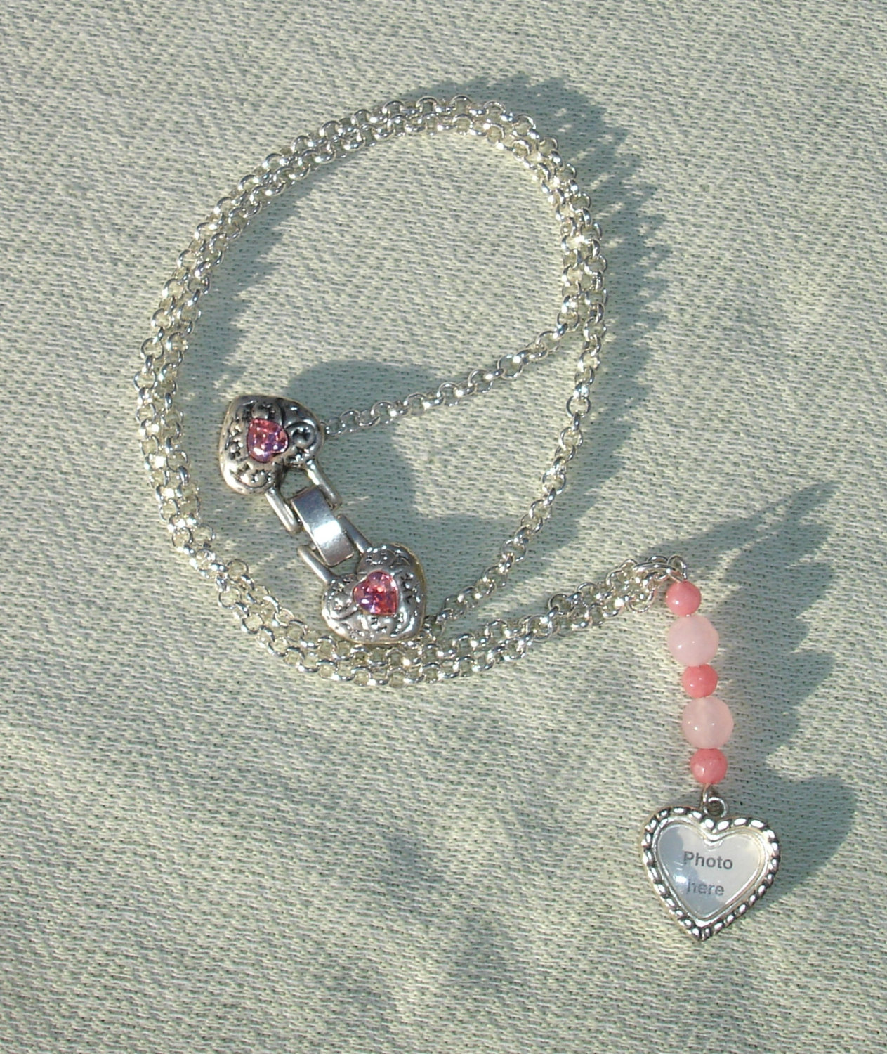 Heart Shaped Picture Frame & Pink Gemstone Silver Necklace - Handcrafted Gift