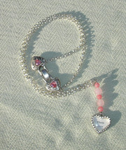 Heart Shaped Picture Frame & Pink Gemstone Silver Necklace - Handcrafted... - $17.25