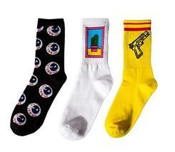Black Temptation 3 Pairs of Long Socks Personalized Socks Cool Socks Cot... - $17.76