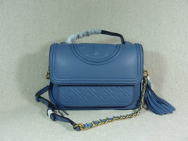 NWT Tory Burch Larkspur Blue Leather Fleming Satchel - $443.51