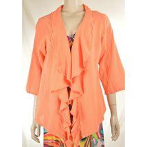 Oh My Gauge jacket cover open OS orange sherbet long sleeve ruffle front hi lo image 8