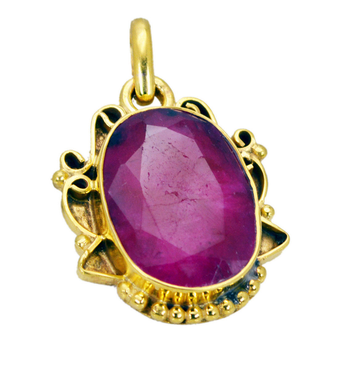 pulchritudinous Indian Ruby Gold Plated Red Pendant Fashion jewelry US