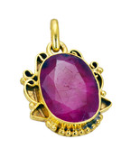 pulchritudinous Indian Ruby Gold Plated Red Pendant Fashion jewelry US - $5.63