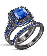 Black Gold Over 925 Pure Silver Cushion Cut Blue Sapphire Womens Bridal Ring Set - $107.99