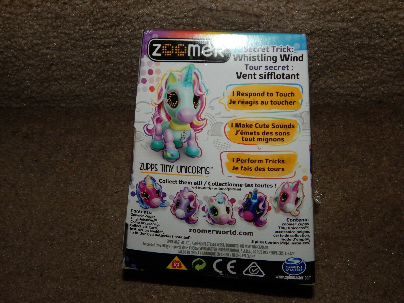 New! Zooner Zupps Tiny Light-Up Horn Unicorns Figure Breeze 4+ Free Shipping