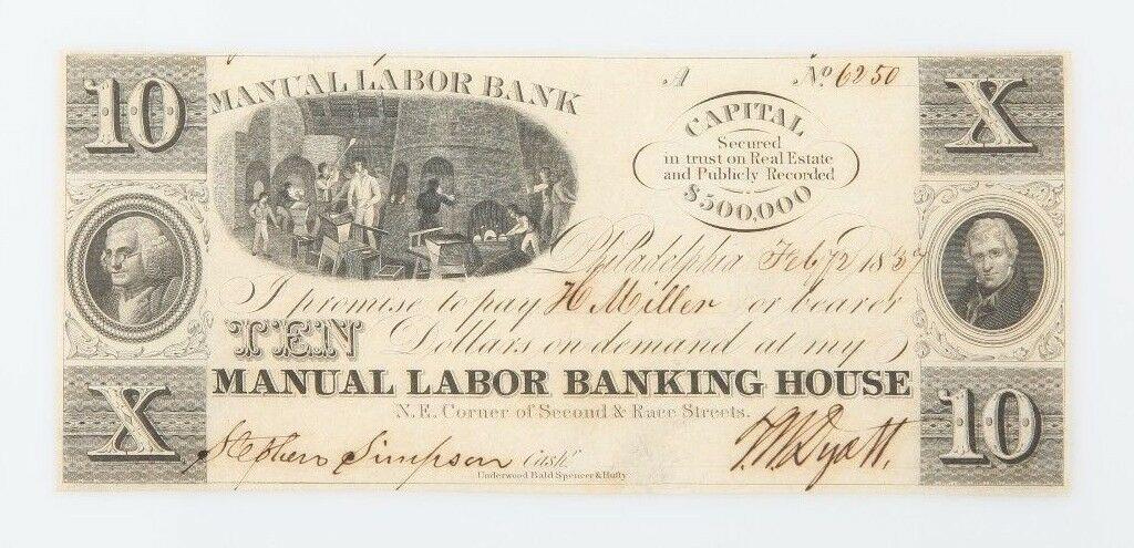 1837 Dollar Manual Labor Banking House of Philadelphia