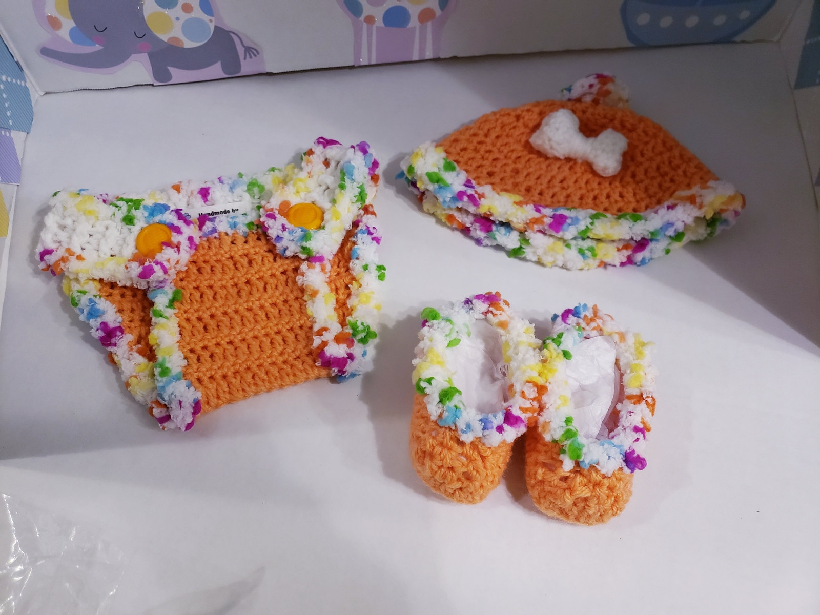 3 piece handmade crochet diaper cover, hat  & bootie set (0-3 M)  Apricot