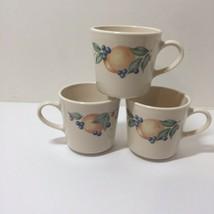 3 Cups Fruit Abundance Corelle Coordinates Stoneware Coffee Tea - $9.74
