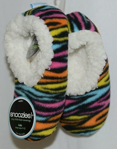 Snoozies Brand 200-182MK Hot Zebra Multi Color Kids House Slipper Size 11 12